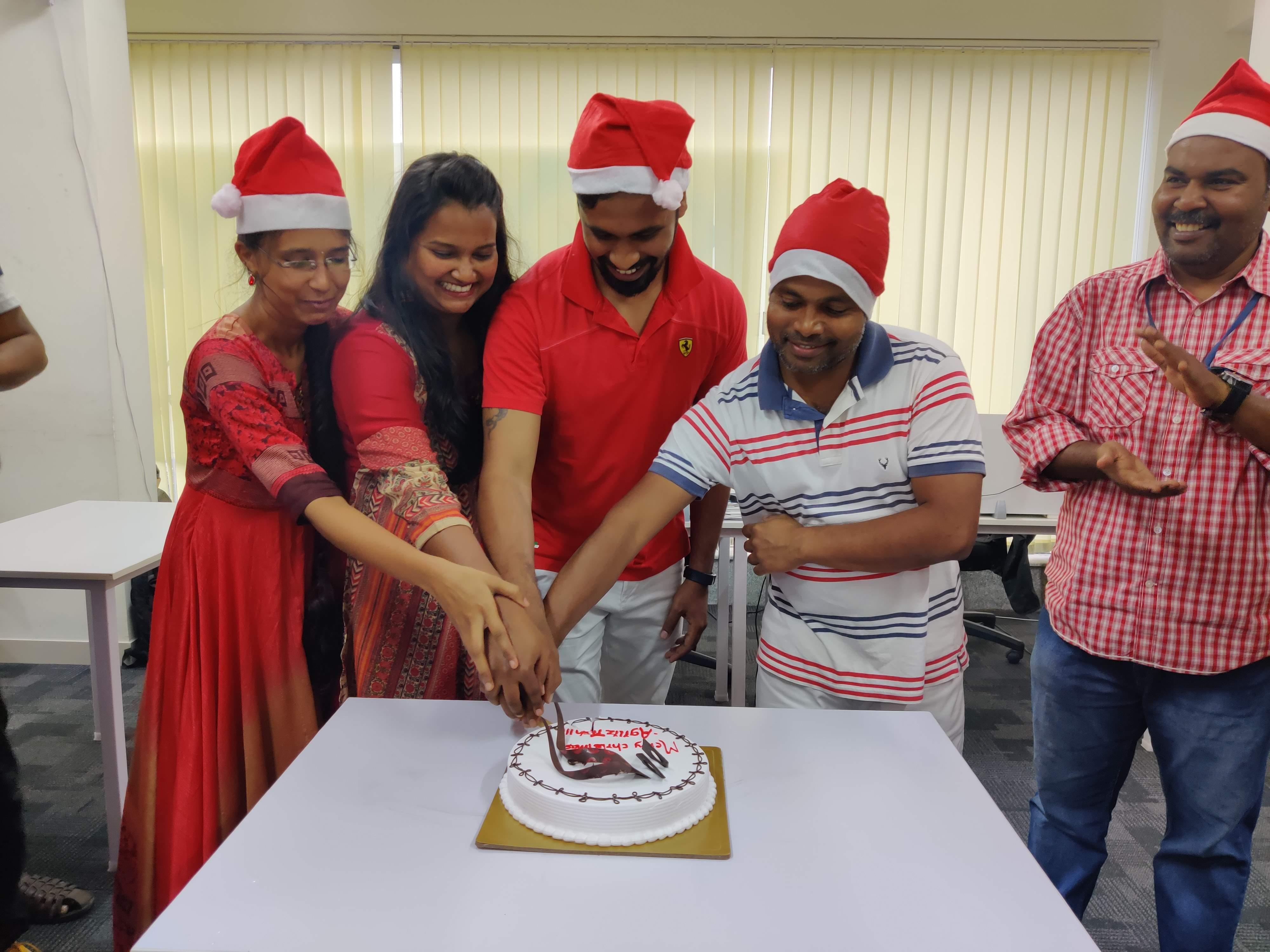 christmas cake cutting